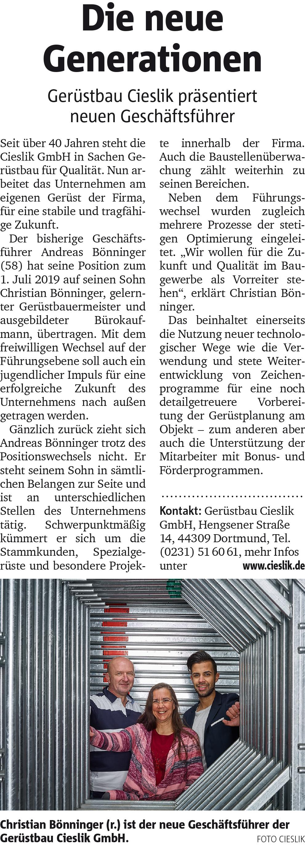 Artikel Ruhr Nachrichten 30.07.2019