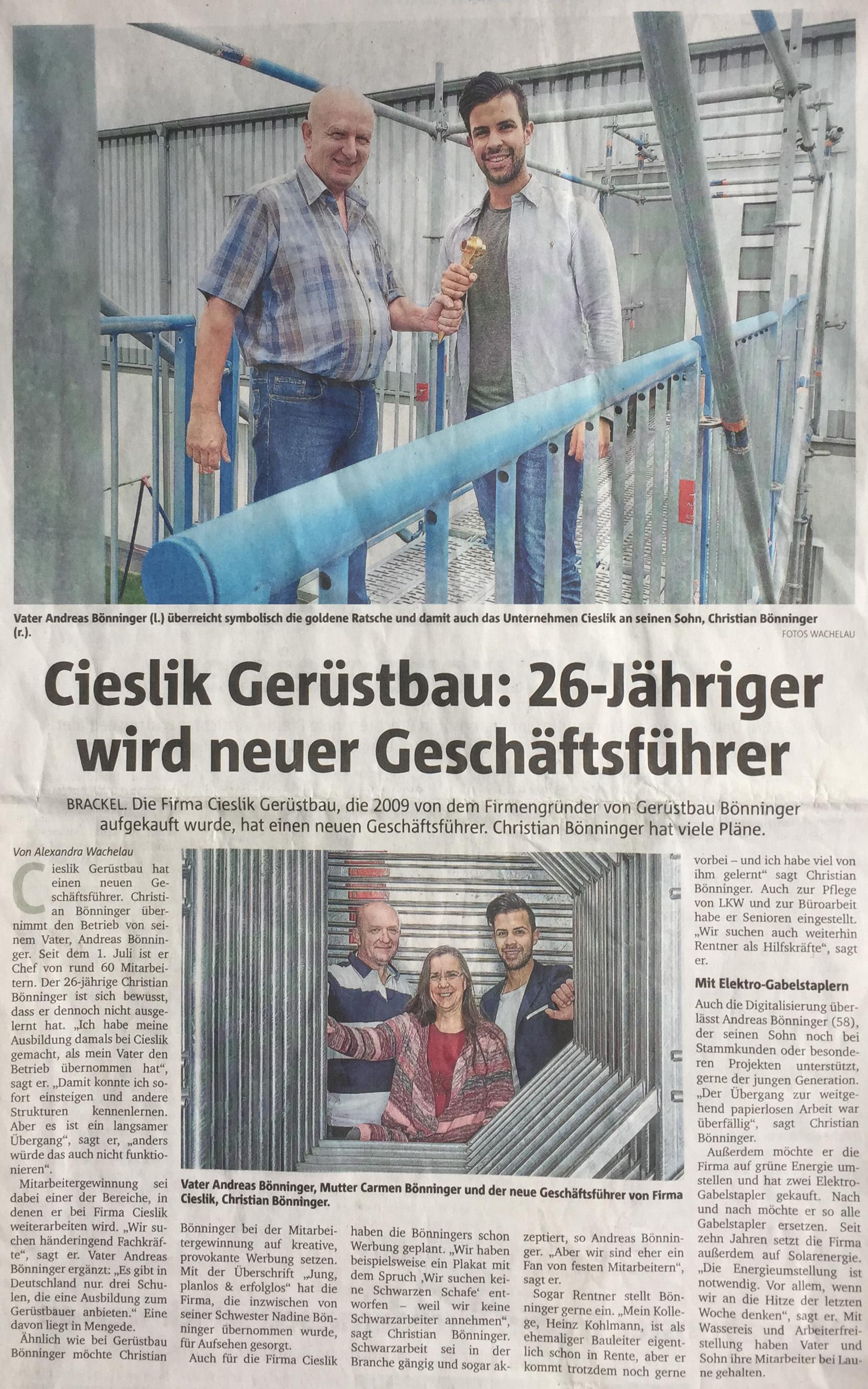 Artikel Ruhr-Nachrichten 31.07.2019 – Gerüstbau Cieslik Lünen